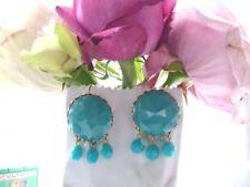 Les Nereides La Diamantine bleu Turquoise Diamant Coupe Verre Rétro Boucles D'oreilles