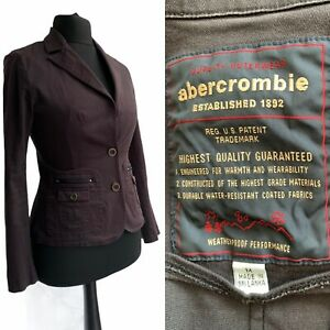 ABERCROMBIE & FITCH Jacket Size 12 Brown WaterProof Fitted Casual