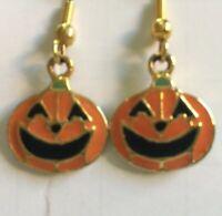 Halloween Costume Pumpkin Jack-O-Lantern Orange Enamel Drop Dangle Earrings
