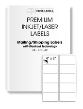 1000 Sheets 10000 Labels BLACKOUT Technology Fast Peel Shipping 4 x 2 10 UP