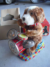RARE 1950s Cragstan Alps Battery Operated Dandy Drumming Pup Dog Toy in Box
