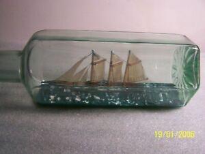 Vintage SHIP IN A BOTTLE - Unique Hexagon Bottle