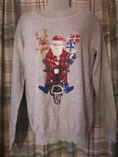 Women's Size Medium Christmas Jumper Pullover Grey soft santa Squine