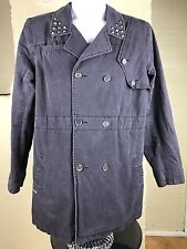 Volcom Women's Navy Blue Shazar Trench Coat Button Front 100% Cotton Plaid Lined