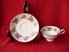Spode Copelands 3 Cups 4 Saucers Porcelain England White Brown Vine Grapes