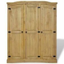Solid Wood Wardrobe 3 Door Armoire Rustic Closet Corona Style Bedroom Furniture