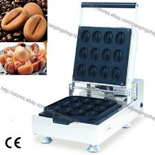 Commercial Nonstick Electric Coffee Bean Cake Waffle Maker Iron Baker Machine