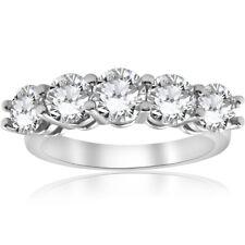 3 CARAT Redondo Diamante Anillo De Compromiso Piedra cinco aniversario de bodas de oro blanco 14K