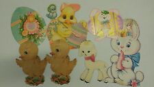 Vintage easter decorations lot Bunnies Lamb Eggs paperboard cut-outs used 1960's