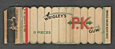 Die Cut Wrigley's PK Gum Matchbook Cover Very Cool Graphic