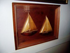 vintage mid century Yacht Half Hull Wood Sailboats Ship Model Diorama frame box