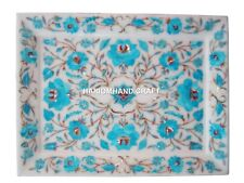 """Size 9""""x12"""" Marble Serving Tray Plate Turquoise Gem Floral Inlay Marquetry H1404"""