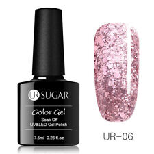 UR SUGAR 7.5ml Rose Gold Glitter Soak Off UV Gel  Pink Nail Art Gel Polish
