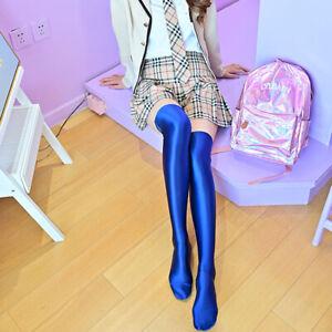 Women's Sexy Socks Shiny Glossy Stocking Lycra Spandex Opaque Thigh High Tights