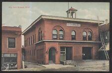 POSTCARD-EVELETH MINNESOTA- EARLY 1900s FIRE DEPT&CITY HALL 1907