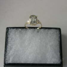 SUPERB 9CT YELLOW GOLD CUSHION GREEN AMETHYST & DIAMOND RING SIZE O IN GIFT BOX