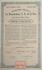 MEXICO M/111 CO. MINERA LA DESCUBRIDORA DE EL ORO, cinco acciones de $50 pesos