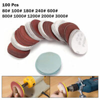 "100 Pcs 2'' 3"" Sander Sanding Discs Pads 80 - 3000 Grit Hook & Loop Sandpaper UK"