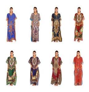Volle Länge Maxi Kaftan Kimon Volle Länge Kimono Kleid in Tribal Aufdruck
