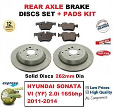 FOR HYUNDAI SONATA VI 2.0i 165bhp 2011-2014 REAR BRAKE PADS + DISCS (262mm Dia)