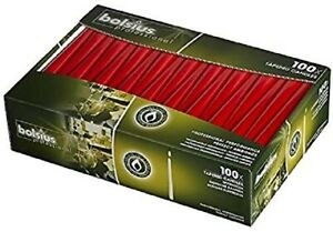 Bolsius Tapered Dinner Candles - 10 Inch - 100 Pack - Red