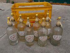 lote de 8 antiguos SIFONES + CAJA VINTAGE  BOTTLES GLASS SODA SIPHON,SIFON