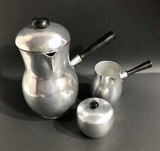 MCM Chrome Coffee Service Set Bakelite Handles Coffee Carafe Cream & Sugar Spain