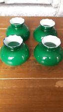 4 Vintage Colour Lamp Shades vintage green  white enamel  oil lamp shape small