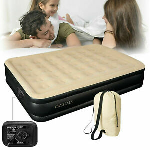 Inflatable High Raised Queen Sized Air Bed Mattress Built in Pump Guest Bed