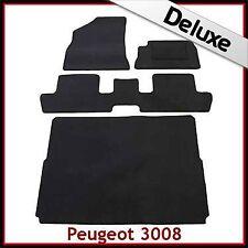 Peugeot 3008 Mk1 2009-2016 A Medida De Lujo 1300g Alfombra Alfombrillas de inicio y de Coche Negro