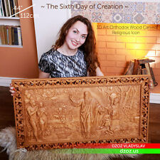 "44"" Sixth day of Creation Wood Carved paintg 3D The bible pictures orthodox icon"