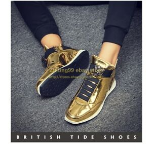Korean Mens Lace Up Gold Sneakers Leisure Board Pumps Flats Shoes Faux Leather
