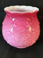 Fenton Art Glass Pink Wild Rose Overlay Vase