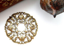 ANTIQUE BRASS Filigree Tulip Wreath Flower Stamping ~ Oxidized Finding (CB-3051)