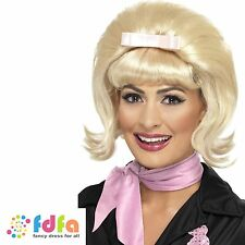 50s ROCK BLONDE FLICKED BEEHIVE WIG WITH RIBBON BOW - ladies fancy dress costume