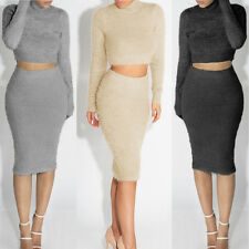 2Pcs/Set Womens Long Sleeve Blouse Pullover Sweatshirt Crop Top+Pencil Dress TP