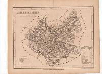 Map Of Leicestershire C1840 Antique Original