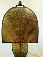 "Antique Art Deco Mica & Amber Crackle Glass Table Lamp 18"" tall"