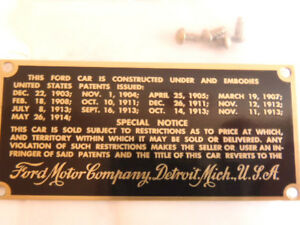 Ford Model T Brass Patent Number Plate 17,18 1917,1918