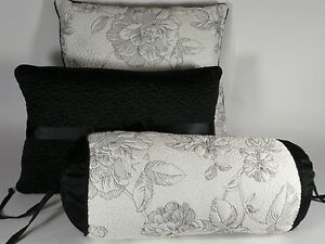 3PC SET LENOX MOONLIT GARDEN DECORATIVE THROW PILLOWS BLACK WHITE QUEEN KING BED