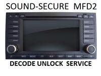 VW TOURAN  MFD2 NAVIGATION RADIO DECODE UNLOCK SERVICE