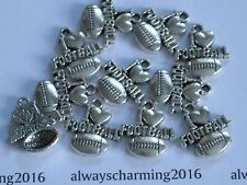 """11 -  """"I LOVE FOOTBALL"""" -   SILVER FOOTBALL CHARMS FOR JEWELRY"""