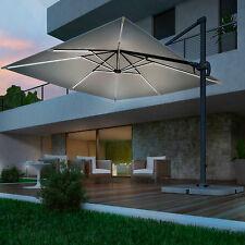 Ombrellone giardino LED palo laterale orientabile alluminio telo idrorepellente