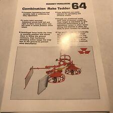 MASSEY FERGUSON MF 64 Combination Rake Tedder Original 1988 Sales Brochure