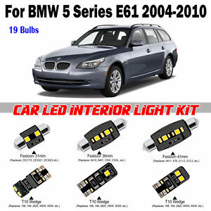 19 Bulbs White LED Interior Light Kit BMW 5 Series E61 Panoramic Roof 2004-2010