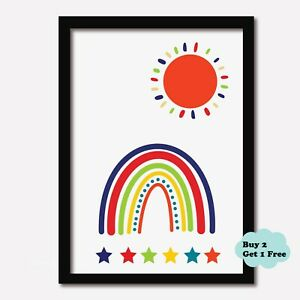 Nursery Print Childrens Baby Girls Boys Bedroom Print SUN RAINBOW Sun Playroom
