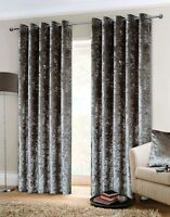 Belle Maison Crushed Velvet Eyelet Ring Top Lined Curtains 3 Colours FREE P&P