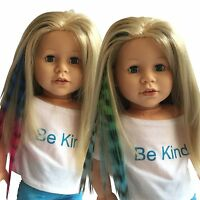Clip In Hair Extensions Zebra Print Blue/Pink & Green/Blue for 18 inch Dolls