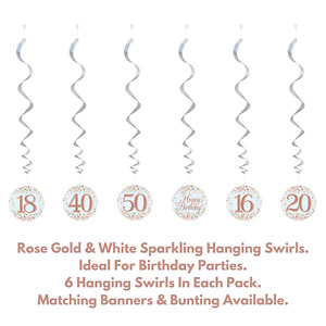 Happy Birthday Rose Gold Sparkling Party Decorations Holographic Hanging Swirls