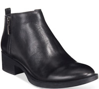 $140 size 9 Kenneth Cole Levon Black Leather Zip Up Heel Ankle Boots Womens Shoe